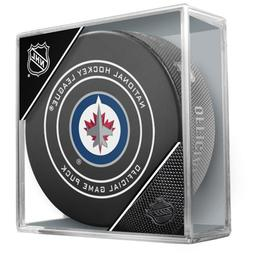 NHL Winnipeg Jets Official Game Hockey Puck with Holder